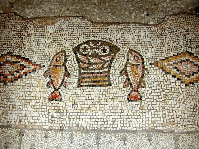 Tabgha mosaic of fish and loaves, tb n011500