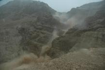 Rain storm in wadi at Qumran