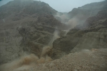Rain storm in wadi at Qumran